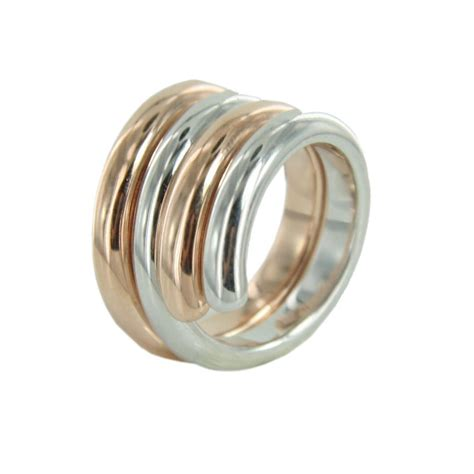Bicolor Ringe by Esprit Swiveled Damen Silber Ring Bicolor Esse90969b Neu