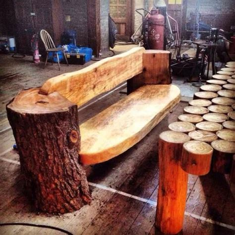 chainsaw carved benches