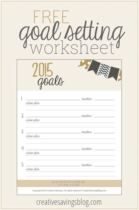 free printable goal planner 2015 8 best images of goal setting printable worksheet for 2015