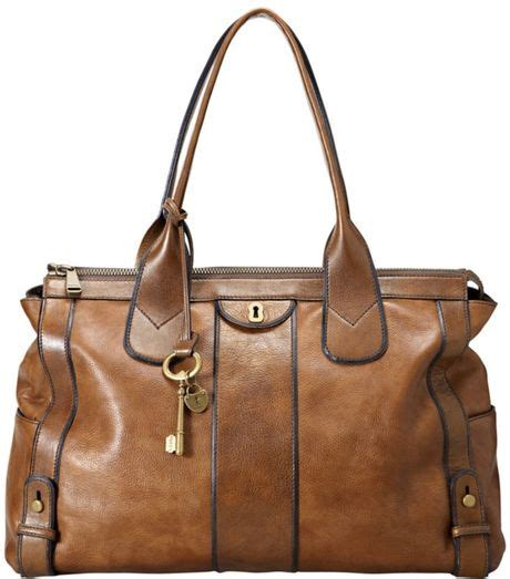 Fossil Totte Big Size Bag In Bag fossil vintage reissue tote in brown camel lyst