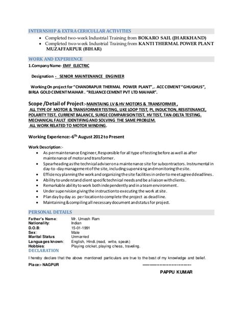 Sle Resume For Experienced Electrical Maintenance Engineer Power Plant Electrical Engineer Resume Sle 28 Images Be Chemical Engineering Resume Sales