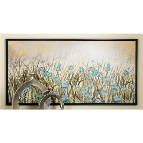 home depot wall decor 27 in x 55 in framed blue flowers wall art in brown
