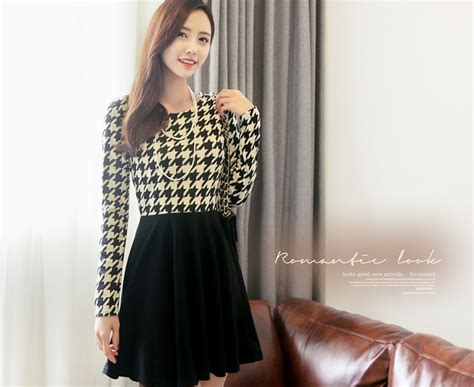 Dress Import dress korea motif houndstooth import model terbaru jual murah import kerja
