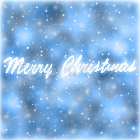 merry christmas greeting card blue abstract background  handwriting greeting words