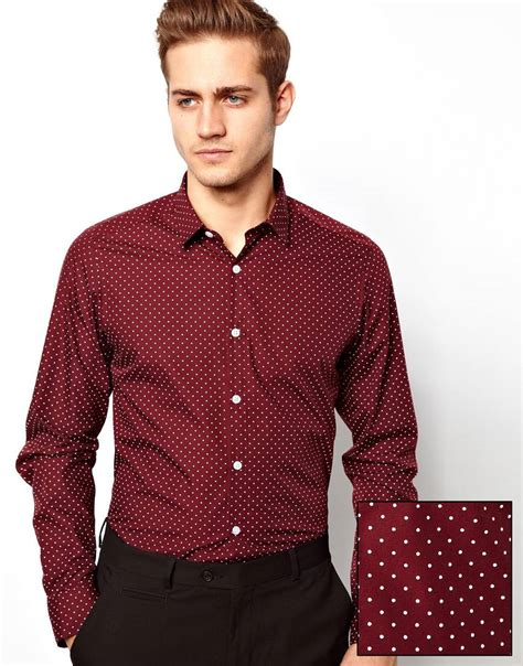 Gef Maroon Dotted Button Blouse lyst asos smart shirt in sleeve with polka dot