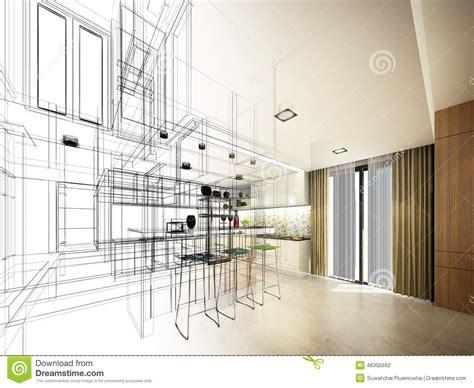 kitchen sketch abstract sketch design of interior kitchen stock