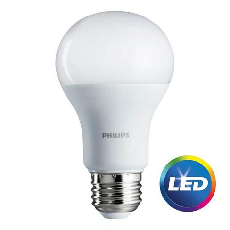 Lu Led Philips 19 Watt philips 75 watt equivalent a19 led soft white 2 pack 462969 the home depot