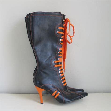 Heels Boot Reslet Semikulit black and orange lace up knee high heel boots glaze 8 from vintagemerchant on ruby
