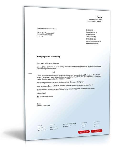 Musterbrief An Die Gegnerische Versicherung K 252 Ndigung Rechtsschutzversicherung Fristgem 228 223 Muster Zum