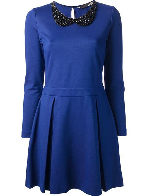 beaded collar dress lyst moschino beaded collar dress in blue