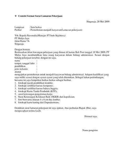 10 contoh surat lamaran kerja kantor ben