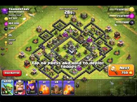 earthquake coc coc goblin and earthquake spell attack th9 clash of