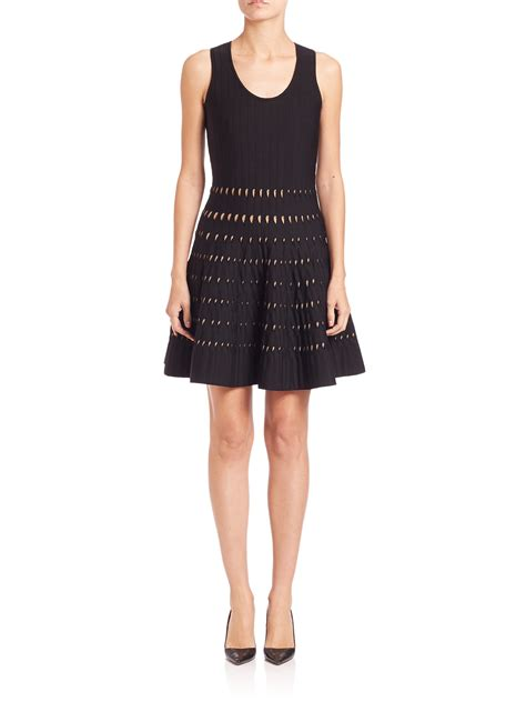 michael kors knit dress michael michael kors pointelle knit tank dress in black lyst