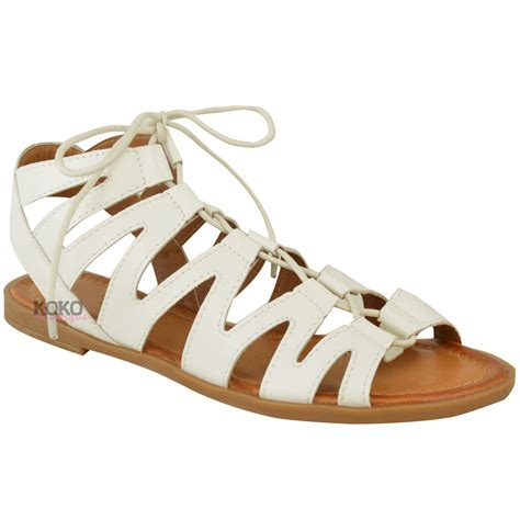peep toe sandals flat new womens flat cut out sandals chelsea ankle lace
