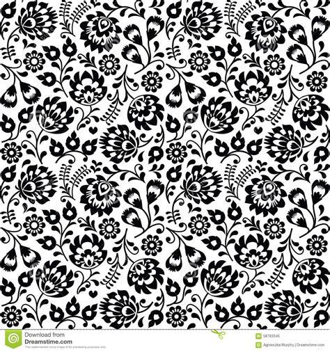 art pattern repetitive seamless polish folk art black floral pattern wzory