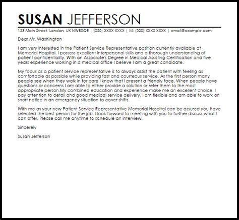 cover letter for patient service representative glamorous accounts