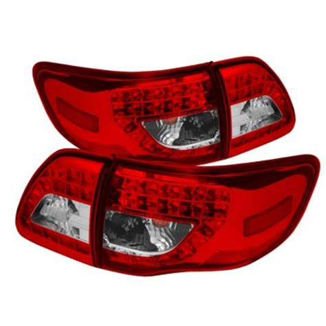 2011 toyota corolla tail light bulb toyota corolla 2009 2011 red and clear led tail lights