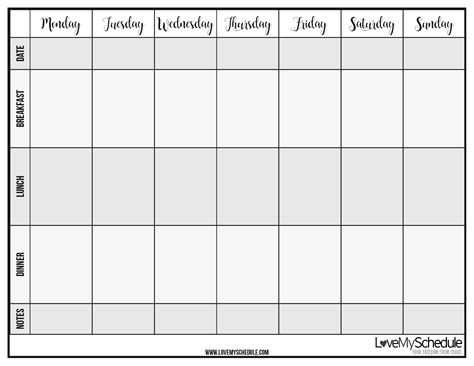 blank printable monthly meal planner blank weekly meal planner carbon materialwitness co