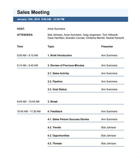 template of an agenda meeting agenda template 46 free word pdf documents