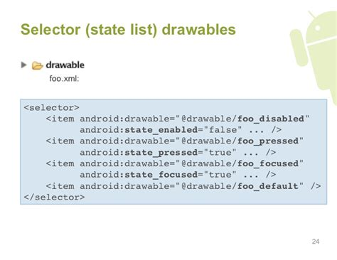 android xml layout best practices selector state list drawables foo xml
