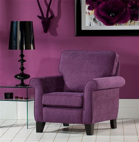 modern style living room with purple accent chair and