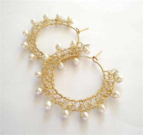 Bridal Wire by Gold Wire Crochet Earrings Bridal Wedding Pearl By