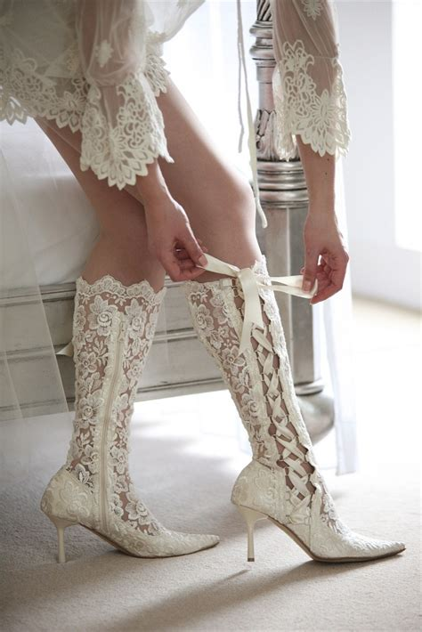lace up lace boots wedding shoes