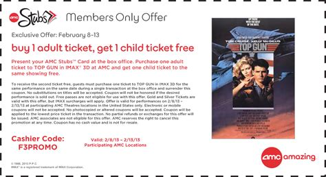 printable amc discount tickets top gun in imax 3d free ticket for amc stubs members