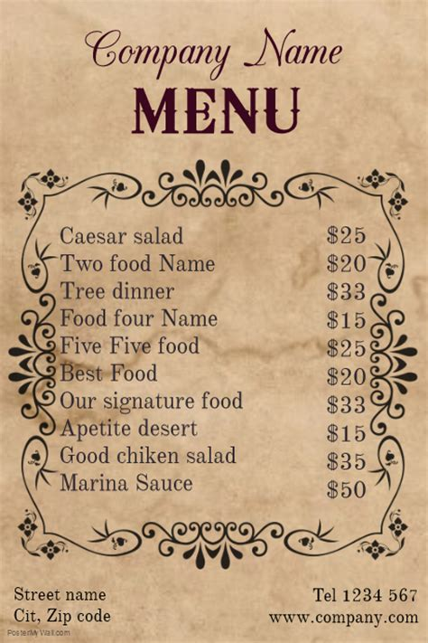 menu poster template vintage restaurant food menu template postermywall