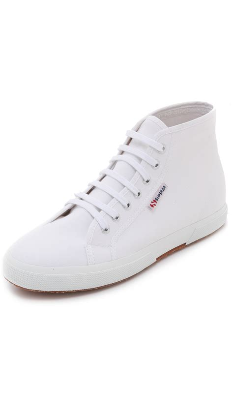 white high top sneakers for lyst superga 2095 cotu high top sneakers in white for