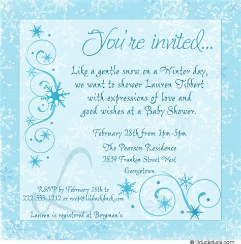 winter themed wedding shower invitations winter baby shower invitations frozen personalized event