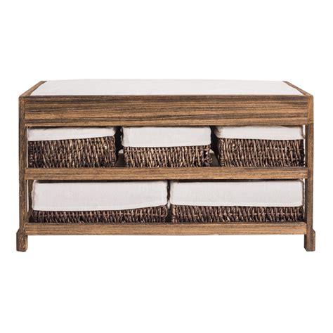 kitchen cabinet bench seat mobili 174 bench seat cabinet storage 5 drawer brown