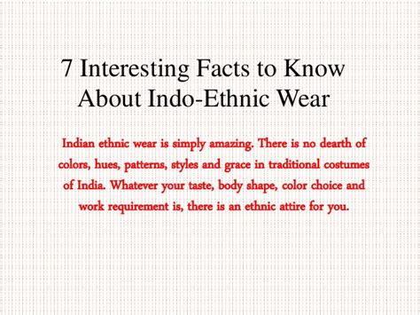 7 Awesome Facts by 7 Interesting Facts To About Indo Ethnic Wear