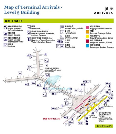 hong kong international airport floor plan map of hong kong airport arrivall hall 5 level building