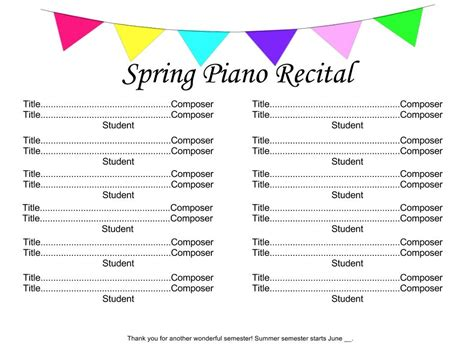 Recital Time 4dpianoteaching Com Recital Program Template