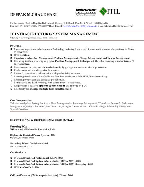 Sle Resume For Itil Professional Itil Certified Logo For Resume 28 Images Paul Koons 2