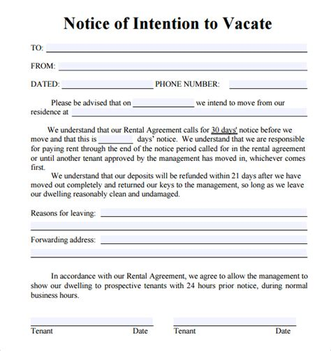 Sle Notice To Vacate Letters 8 Download Free Documents In Pdf Word Florida 30 Day Notice To Vacate Template