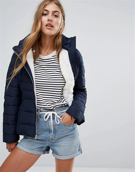 Hollister Quilted Jacket by Hollister Hollister Quilted Padded Jacket With Borg