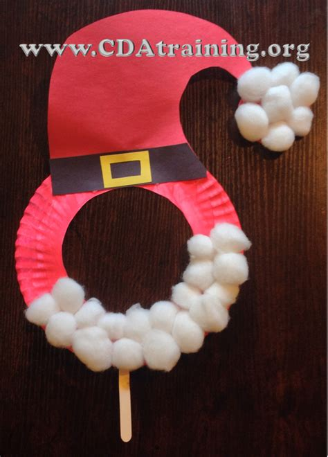 Santa Paper Plate Craft - child care basics resource paper plate santa mask