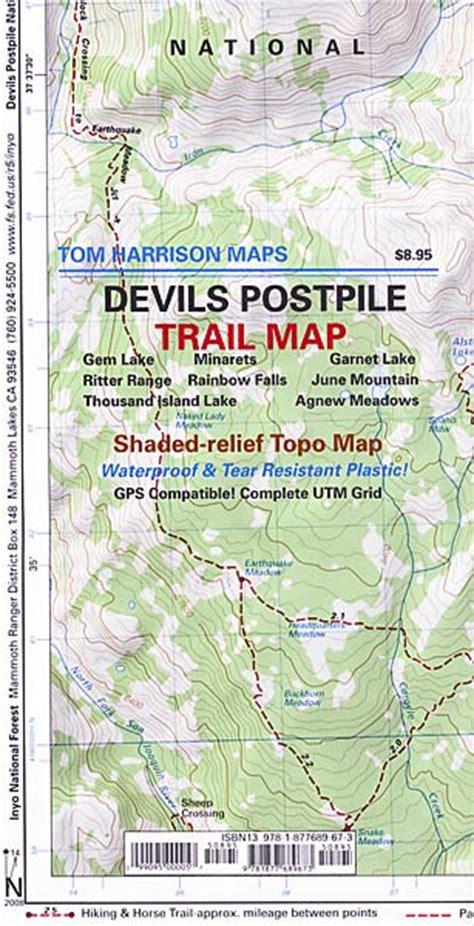 devils postpile trail map  tom harrison