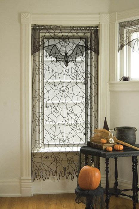 halloween window curtains sheer batty curtains holiday joy gt halloween pinterest