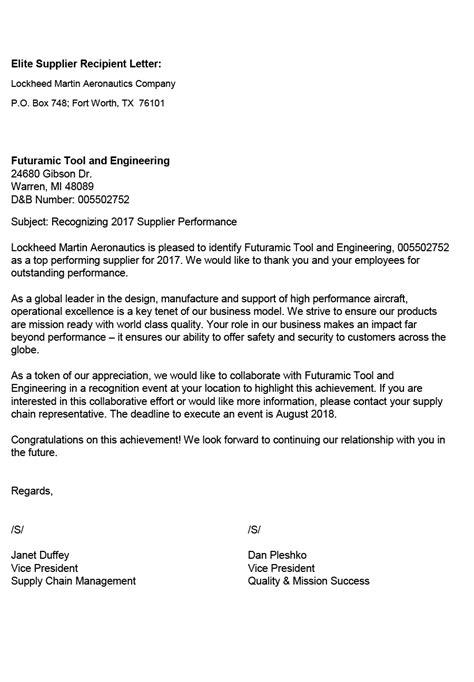 appreciation letter to the supplier lockheed martin elite supplier futuramic tool engineering