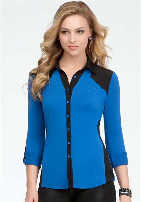 S Chiffon Button Blouse bebe contrast chiffon button up blouse in blue lyst