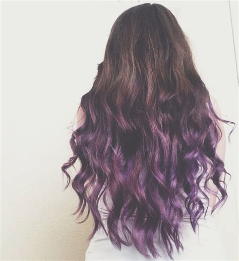 pink highlight on the end tween brunette to purple ombre dip dye hair hair pinterest
