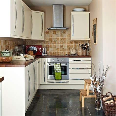 Red and white retro kitchen slate traditional kitchen and tile flooring