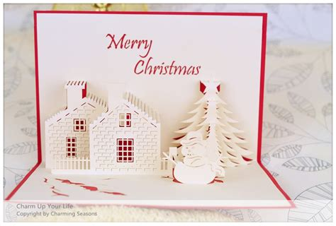 origami handcrafted 3d greeting card merry christmas tree