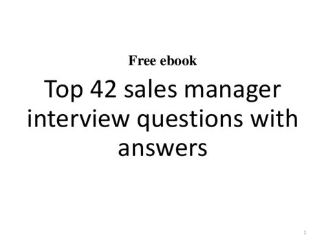 top 10 sales manager interview questions and answers