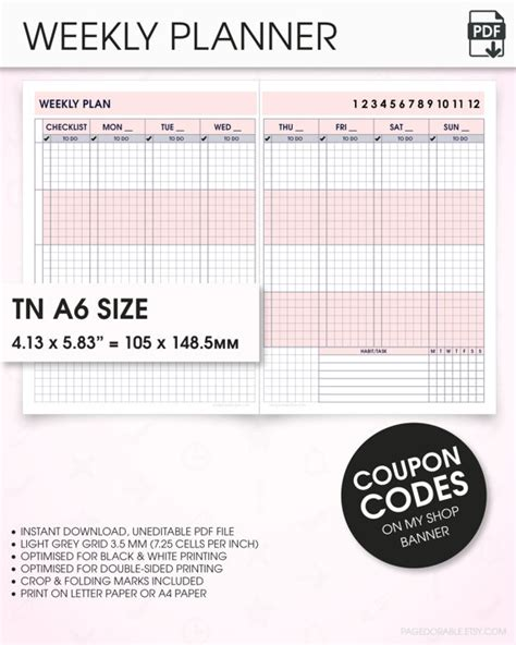 printable a6 planner inserts weekly a6 travelers notebook inserts printable undated wo2p v8