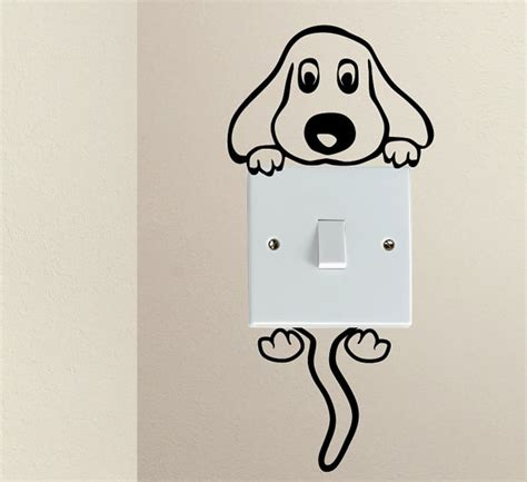Child Bedroom Wall Stickers sale cute dog cartoon doggy puppy baby pet light switch funny