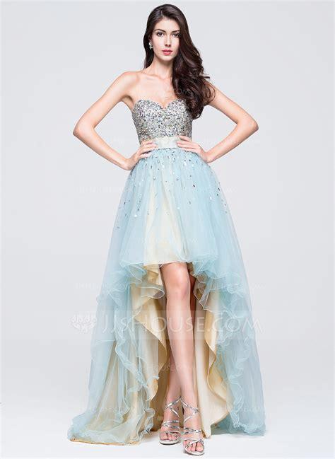 A Line Princess Sweetheart Asymmetrical Tulle Prom Dress